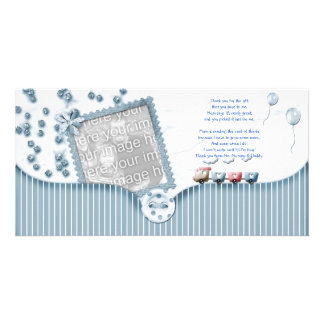 Blue Baby shower Thank You Photo Card from baby