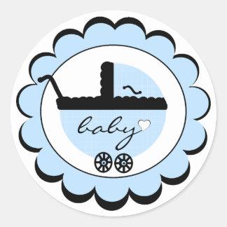 Blue Baby Stroller Baby Shower Classic Round Sticker
