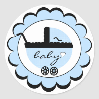 Blue Baby Stroller Baby Shower Round Sticker