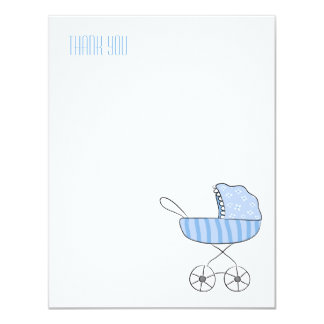 Blue Baby Stroller | Flat Thank You Note Cards