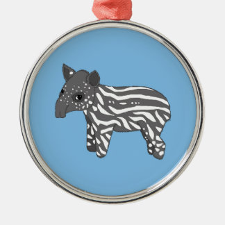 blue baby tapir metal ornament