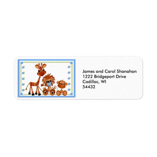 Blue Baby Zoo Animal Return Address Labels