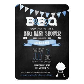 Blue BabyQ BBQ Baby Shower Invitation