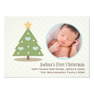 Blue Baby's First Christmas Tree Photo Card