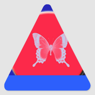 blue background butterflies triangle sticker