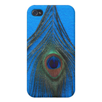 Blue Background Peacock Feather iPhone 4 Covers