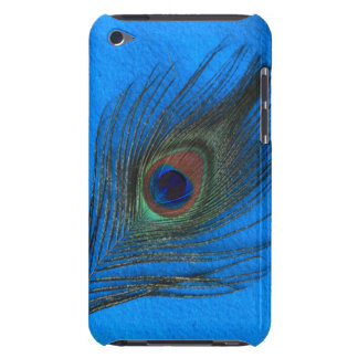 Blue Background Peacock Feather iPod Barely There iPod Touch Covers
