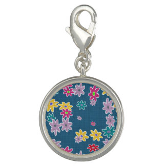 Blue Background with Colorful Flowers Pattern
