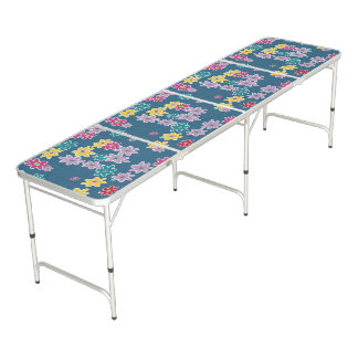 Blue Background with Colorful Flowers Pattern Beer Pong Table