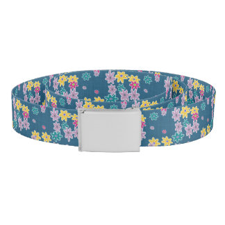 Blue Background with Colorful Flowers Pattern Belt