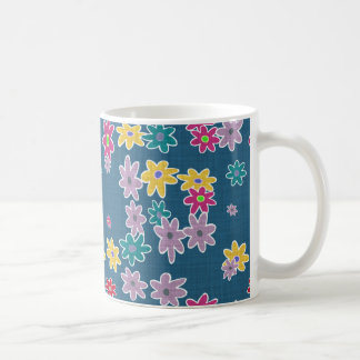 Blue Background with Colorful Flowers Pattern Coffee Mug