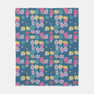 Blue Background with Colorful Flowers Pattern Fleece Blanket