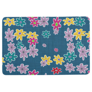 Blue Background with Colorful Flowers Pattern Floor Mat