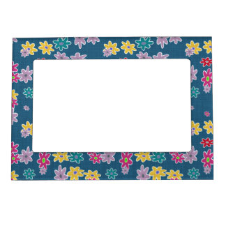 Blue Background with Colorful Flowers Pattern Magnetic Frame