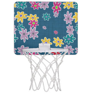 Blue Background with Colorful Flowers Pattern Mini Basketball Hoop