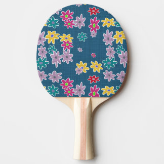Blue Background with Colorful Flowers Pattern Ping Pong Paddle
