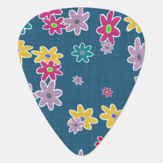 Blue Background with Colorful Flowers Pattern Plectrum