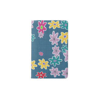 Blue Background with Colorful Flowers Pattern Pocket Moleskine Notebook