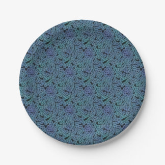 Blue bacteria background 7 inch paper plate