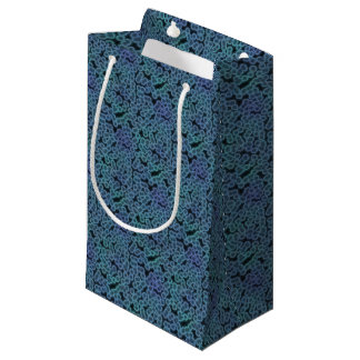 Blue bacteria background small gift bag