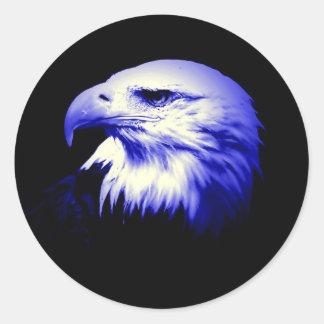 Blue Bald Eagle Round Sticker