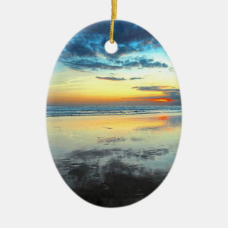 Blue Bali Sunset Ceramic Oval Decoration