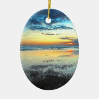 Blue Bali Sunset Ceramic Oval Decoration