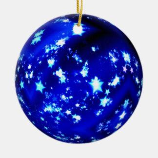 Blue ball brilliant stars round ceramic decoration