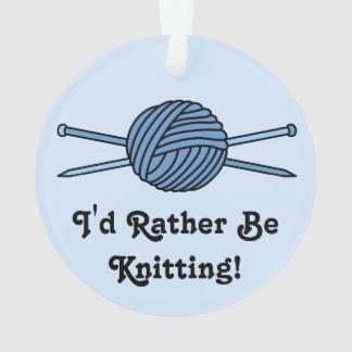 Blue Ball of Yarn & Knitting Needles (Version 2) Ornament