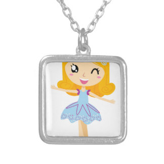 BLUE BALLERINA HANDDRAWN ART EDITION SILVER PLATED NECKLACE
