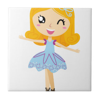 BLUE BALLERINA HANDDRAWN ART EDITION SMALL SQUARE TILE