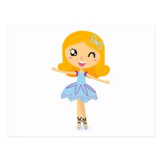 Blue ballerina Princess cute T-Shirts Postcard