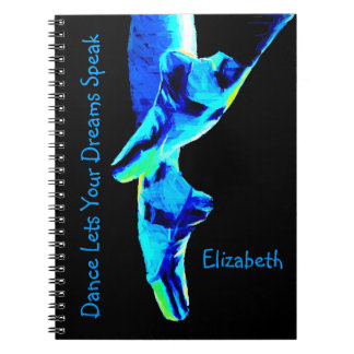 Blue Ballet Pointe Slippers Personalized Spiral Note Book