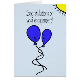 Blue Balloon Engagement Congratulations Greeting Card
