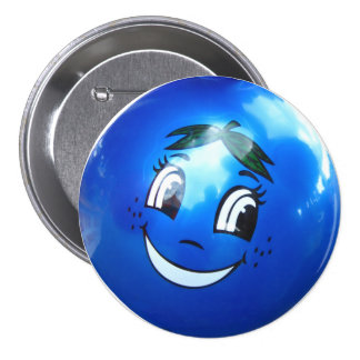 Blue balloon face 7.5 cm round badge