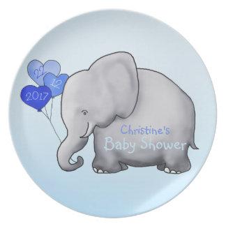 Blue Balloons Elephant Boy Baby Shower Plate