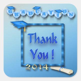 Blue Balloons Graduation Thank You envelope seal Square Sticker