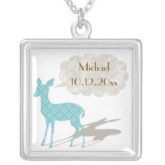 Blue Bambi Baby Birth Keepsake Necklace