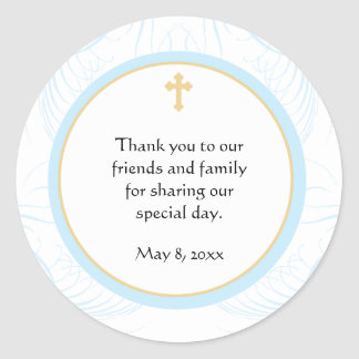 Blue Baptism/Christening Favor Sticker