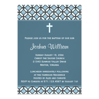 Blue Baptism/Christening Invite (no photo)