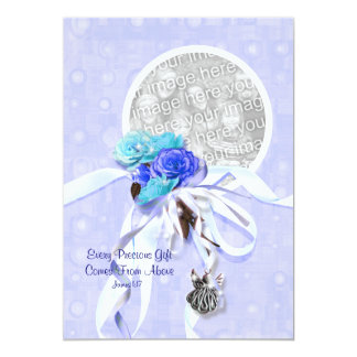 "Blue baptism communion confirmation white 5"" x 7"" invitation card"