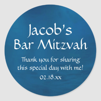 Blue Bar Mitzvah Classic Round Sticker