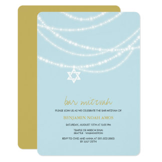 Blue Bar Mitzvah Sparkles Star Of David Invite