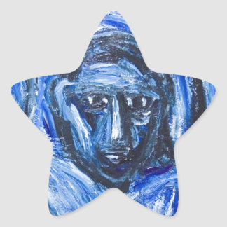 Blue Barbarous Woman(expressionism portrait) Star Stickers