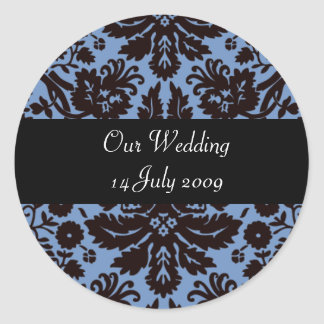 Blue baroque damask personalised stickers