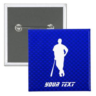 Blue Baseball Player Pinback Buttons