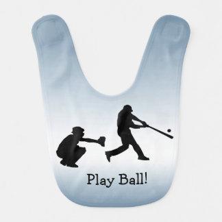 Blue Baseball Sports Baby Bib