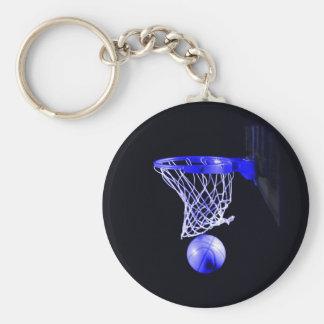 Blue Basketball Basic Round Button Key Ring
