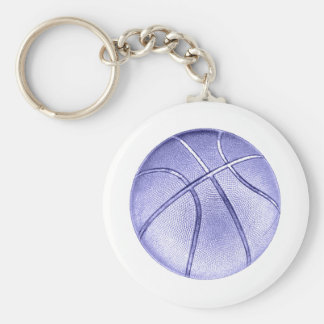 Blue Basketball Basic Round Button Key Ring