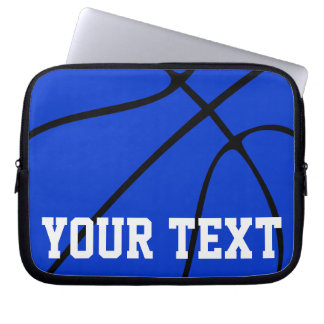 Blue Basketball Coach/Player Team Name or Text Laptop Sleeve